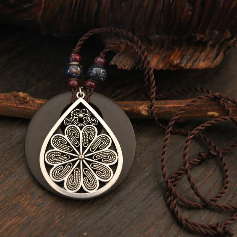 Ethnic Flower Drop Charm Ceramic Wood Pendant International Jewelry Necklaces Vintage Women Jewelry