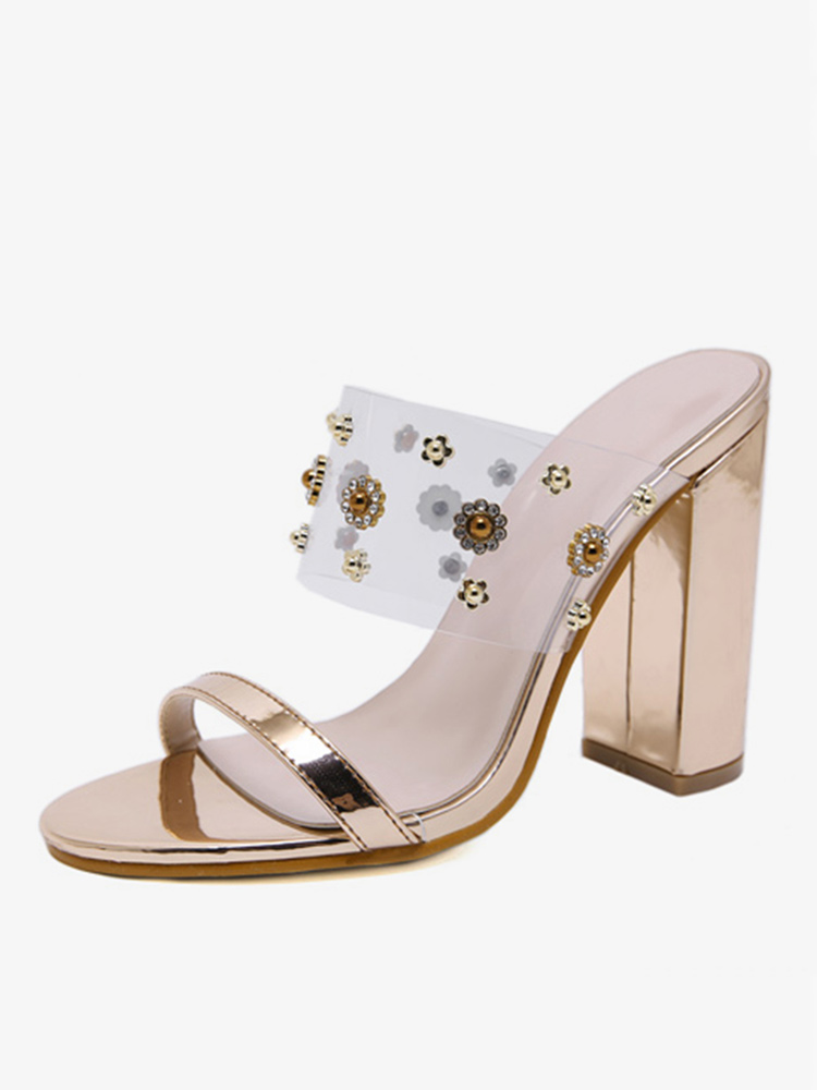 Frauen Strass Champagner Farbe Chunky Heels Pumps