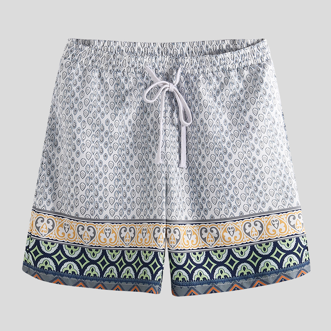 90e67a6a56 Mens Ethnic Style Print Beach Board Shorts Quick Dry Thin Casual Party  Drawstring Pants With Pocket