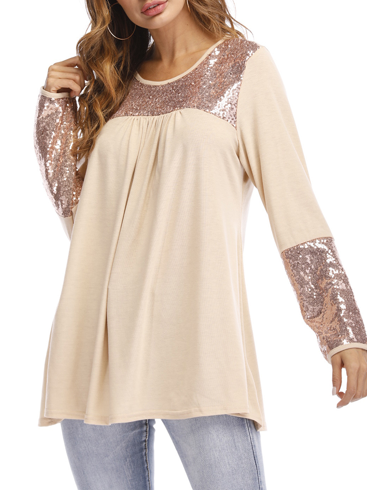 Sequins Long Sleeve Crew Neck Casual T-Shirt