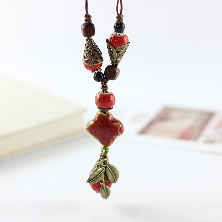 Ethnic Ceramic Waterdrop Leaf Pendant Necklace Vintage Adjustable Personalized Necklaces for Women