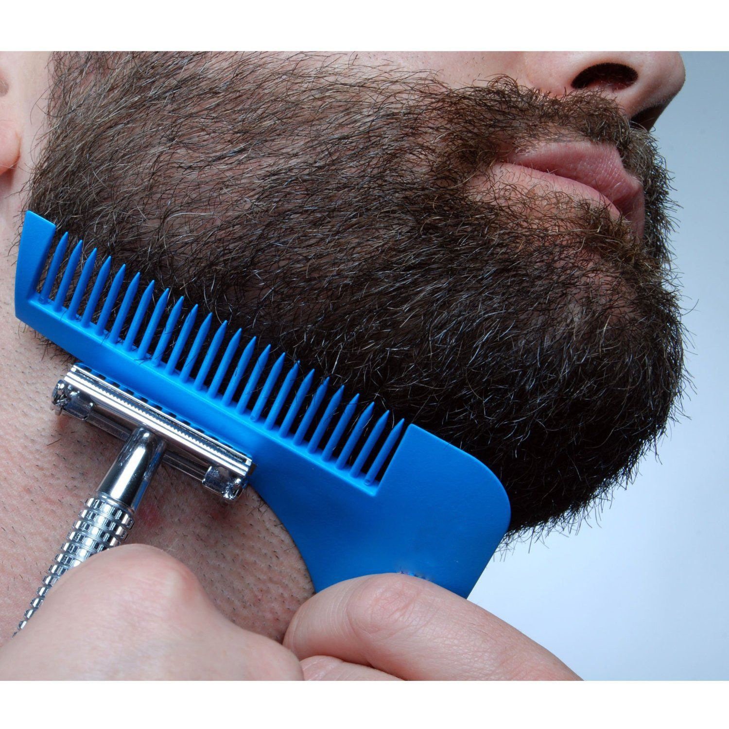 Blue Plastic Man Beard Combs Trimmer Shaving Hair Shaping Tool SKU695050