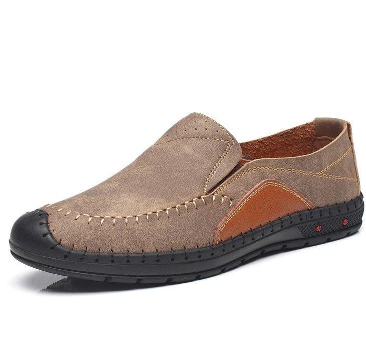 Men Hand Stitching Stylish Color Blocking Leather Slip Ons SKU872860
