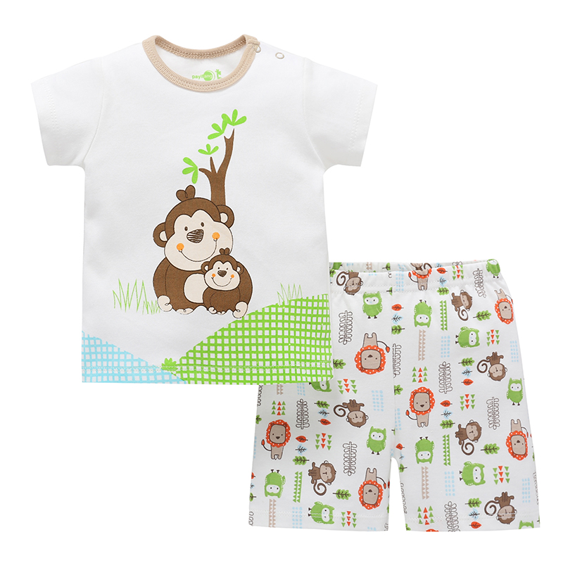 2Pcs Monkey Cotton Kids Shorts Clothes Set (Shirt+Pants) For 0-24M