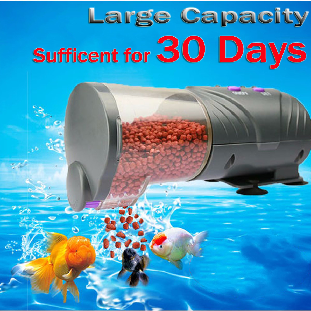 30 Days Automatic Fish Food Feeder LCD Auto Timer Pet Aquarium Tank Pond SKU388283
