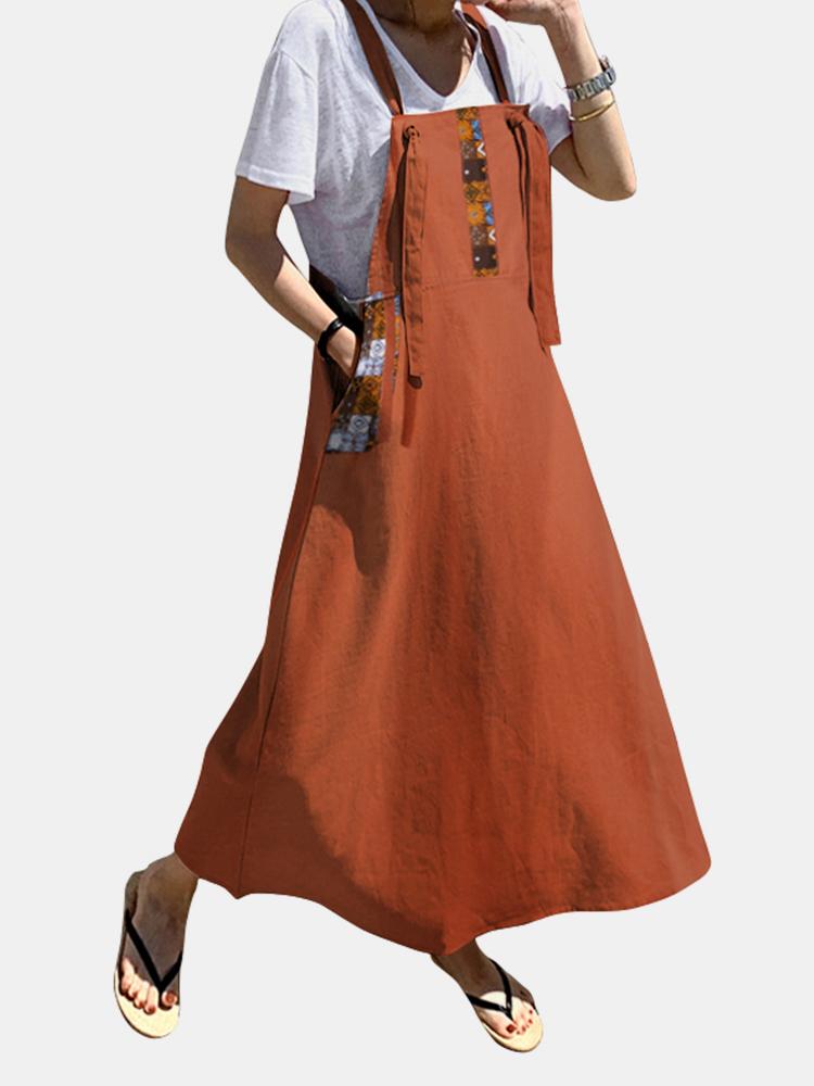 Vintage Bedruckte Seitentaschenriemen Ärmelloses Maxi Kleid