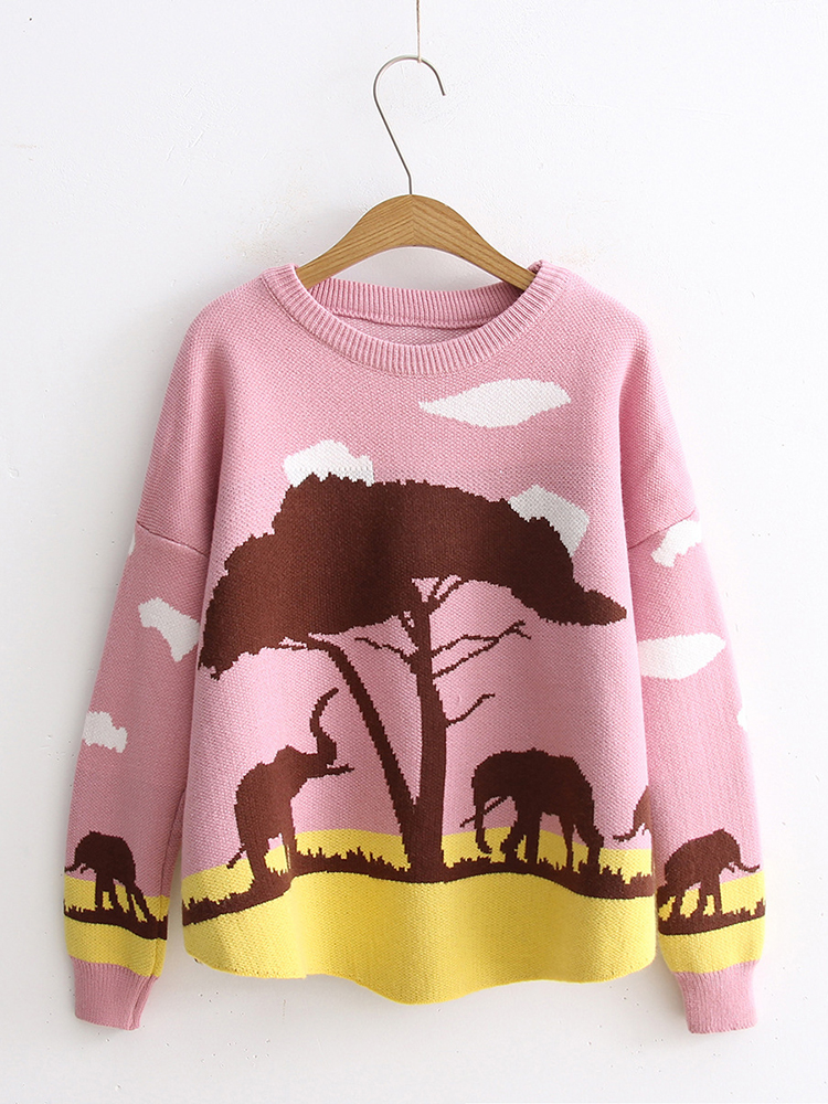Women Elephant Long Sleeve Crew Neck Sweater