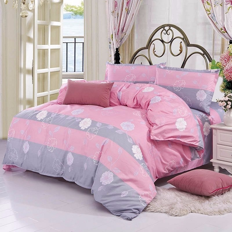 3/ 4PCS Pink Flower Reactive Printing Bed Cover Single Twin Queen Size Bedding Set SKU323205