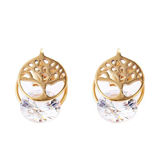 Elegant Ear Stud Earrings Hollow Tree Zircon Trendy Stainless Steel Ear Jewelry for Women