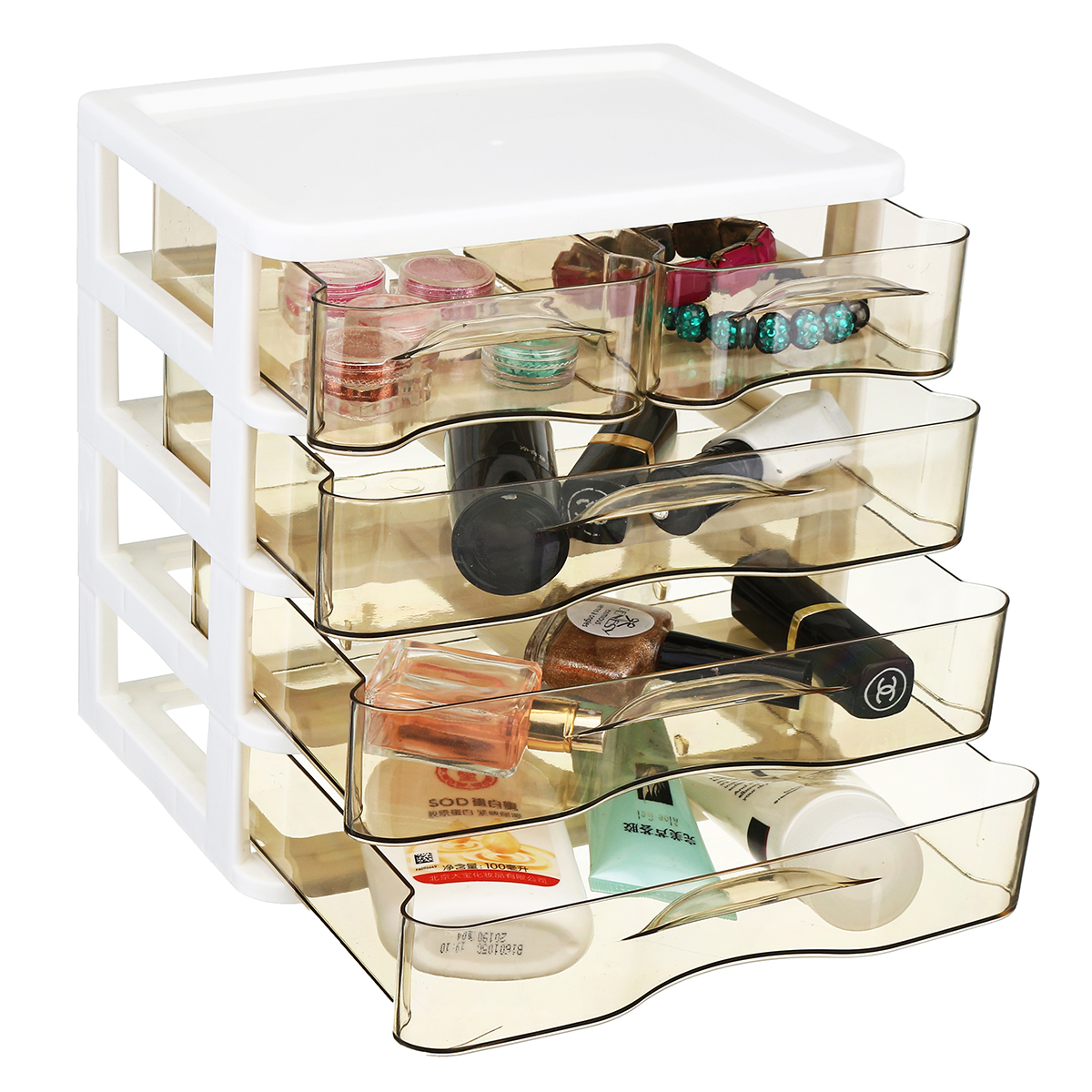 2-4 Layers Cosmetics Desktop Storage Box Office Drawer Plastic Transparent Rack