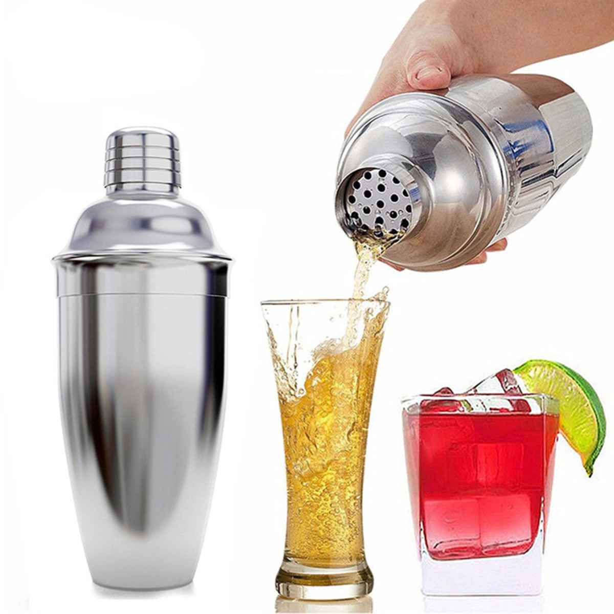 8pcs High Quality Stainless Steel Cocktail Maker Shaker Bar Sets Professional Drink Mixer Tool