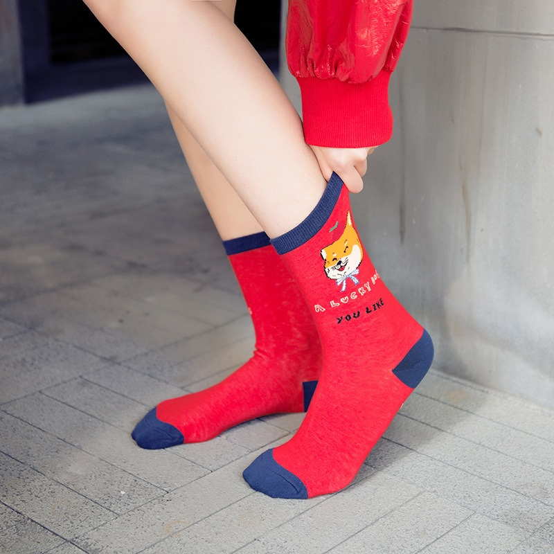 Women Thin Breathable Cotton Middle Tube Socks Vogue Cute Soft Print Ankle Socks