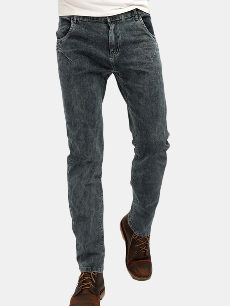 Casual Elastic Slim Fit Brass Button Washed Jeans For Men SKU990121