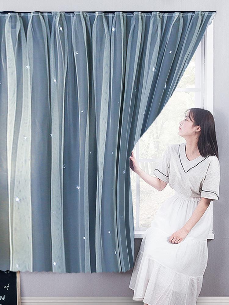 Punch-Free Curtain Rental House Selbstklebender Schattierungstuch Schlafzimmer Erkerfenster-Vorhang