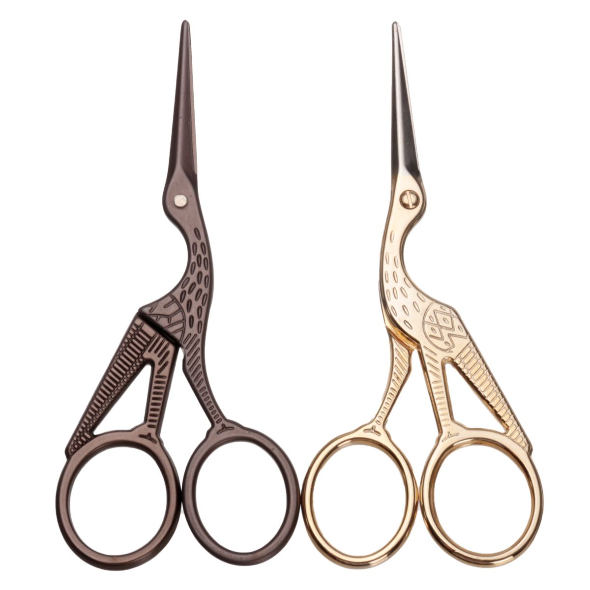Stork Embroidery Scissors Eyebrow Ear Hair Trimmer Gold Bronze SKU236021