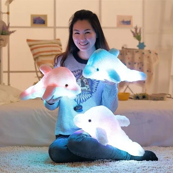 Colorful LED Light Dolphin Plush Toy Creative Throw Pillow Doll Festival Gift SKU785963