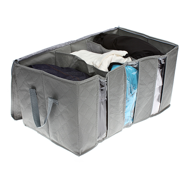 65L Clothes Quilts Storage Bags Folding Transparent Organizer Bags Bamboo Portable Storage Container