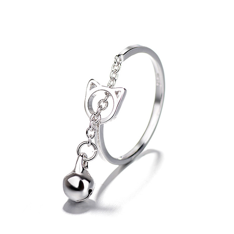 Fashion Platinum Plated Silver Ring Cat Bell Opening Adjustable Finger Rings for Women