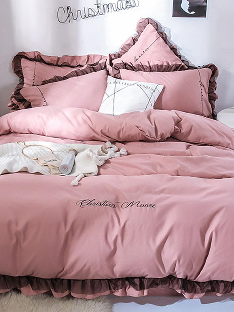 4Pcs einfarbige Stickerei Spitze Purfle Bettwäsche-Set Weich-glatte Bettbezug Kissenbezüge König