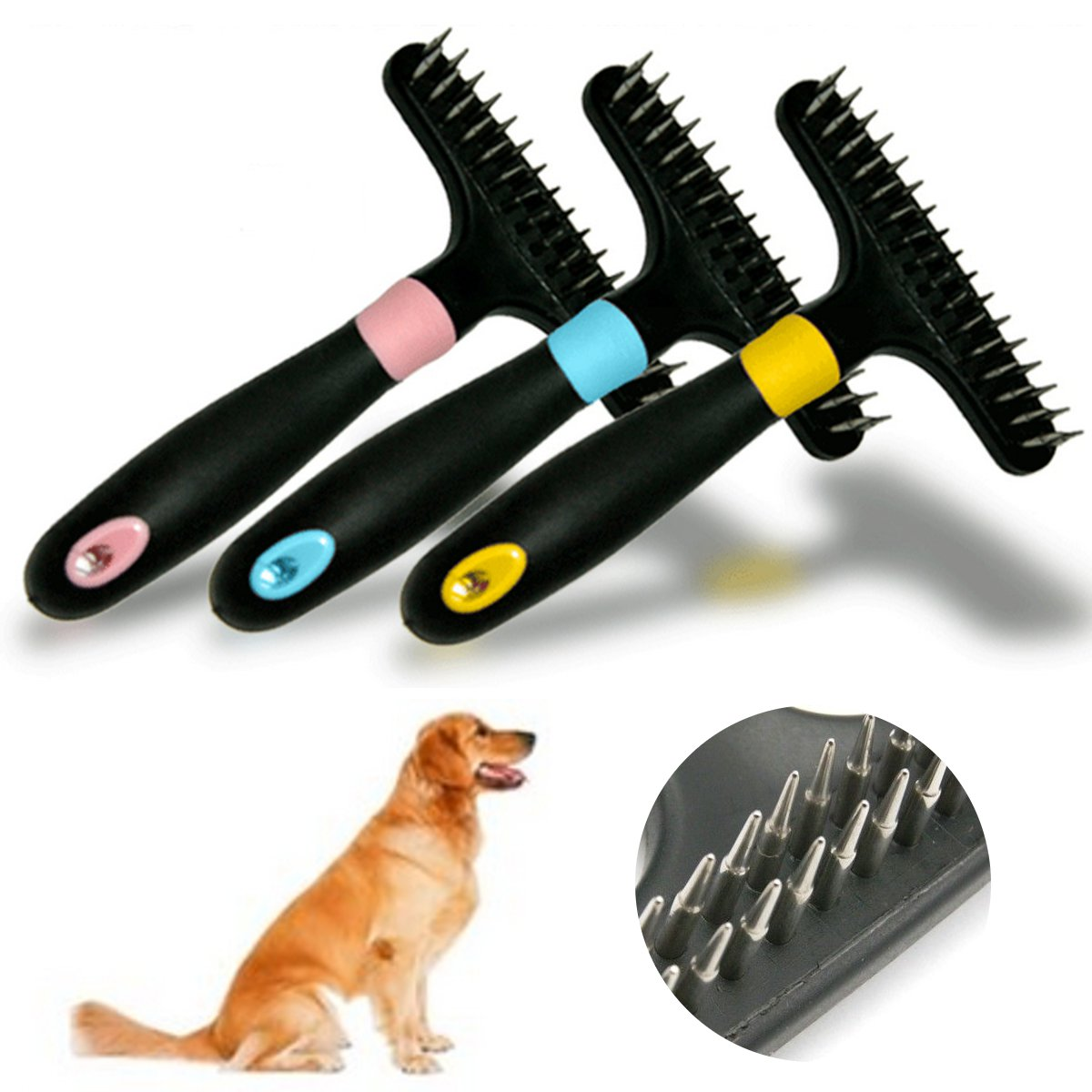 Pet Dog Short Long Thick Hair Fur Shedding Remove Cat Grooming Rake Brush Comb SKU584479
