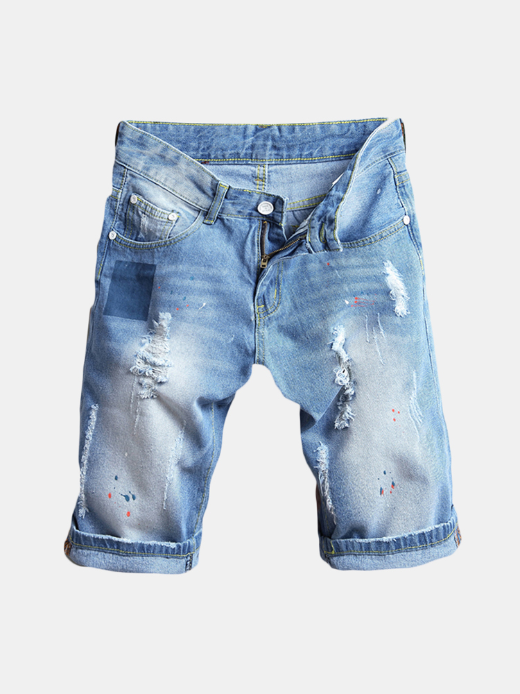 Men Thin Light Blue Hip-Hop Holes Slim Fit Knee Length Jean Denim Short SKU984091