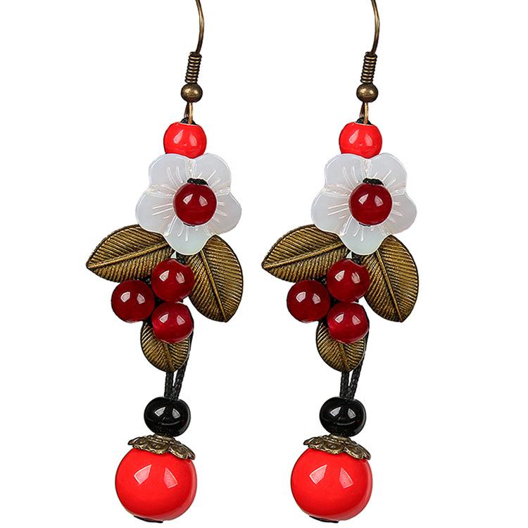 Ethnic Ear Drop Earrings Flower Copper Leaves Plant Round Beads Pendant Earrings Jewelry for Women