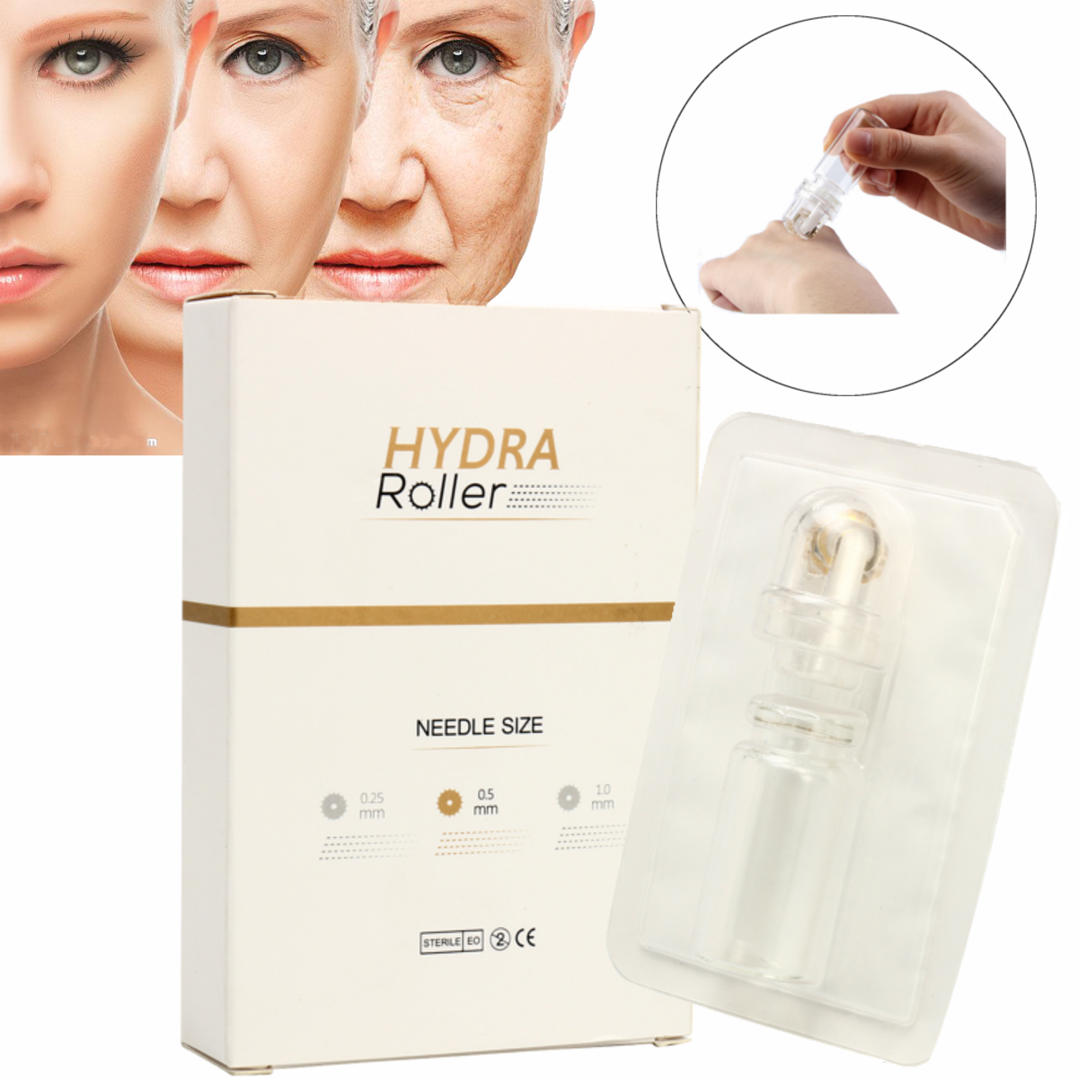 64 Needle Microneedle Roller Micro Needle Therapy Massager Skin Care Recovery Roller Face Care Tool SKU872066