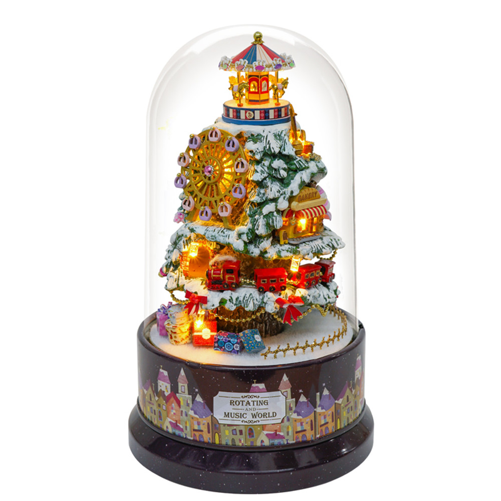 Cuteroom B-030 Snow Park DIY Christmas Doll House With Furniture Music Light Cover Gift House Toy