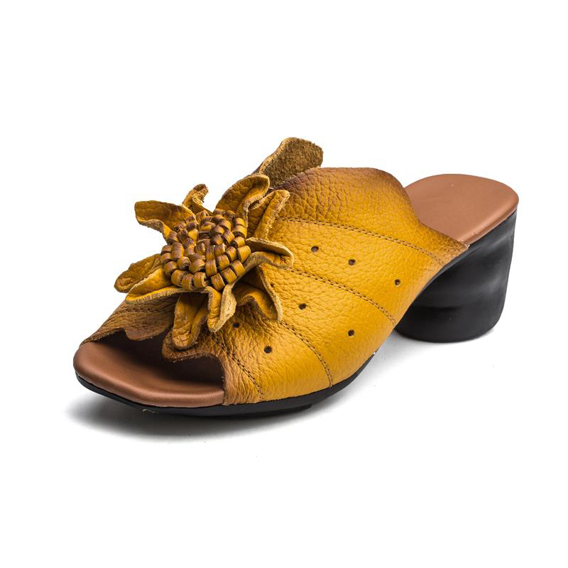 SOCOFY Retro Handmade Sunflower Slip On Square Heel Soft Leather Sandals SKU917340