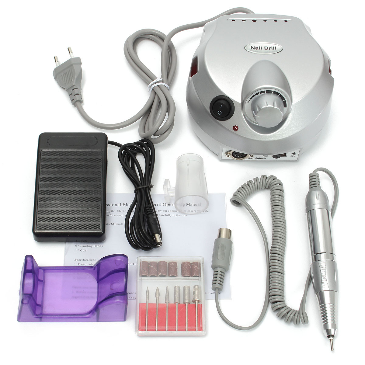 100V-240V Electric Nail Drill Machine Set Manicure Pedicure Tools Bits Polish Carving