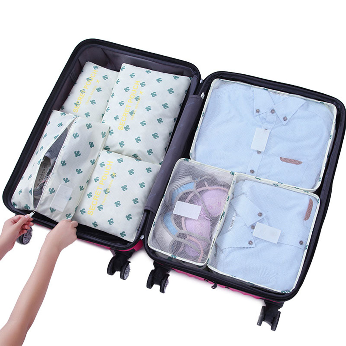 7Pcs Travel Storage Bags Set Portable Tidy Suitcase Organizer Waterproof Clothes Packing Bag