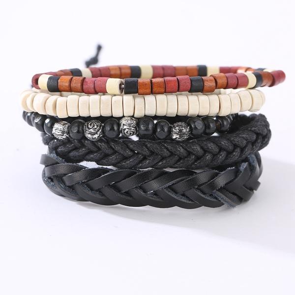 Vintage Leather Bracelet Weave Braided Multilayer Adjustable Wood Beaded Bracelet Gift for Men
