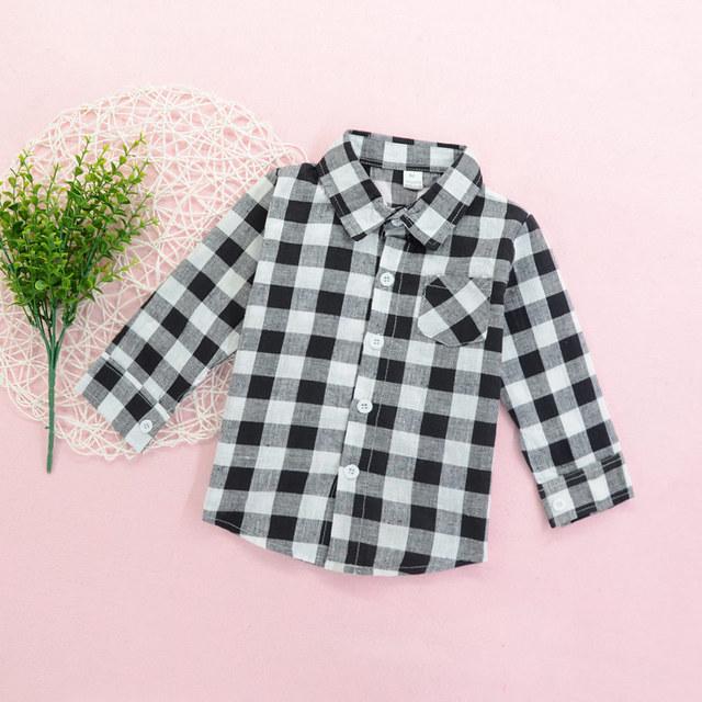 Kinder kariertes Hemd schwarz und weiß Langarm Saison Knopf Kinderbekleidung Boy Baby Medium Kinder Tops