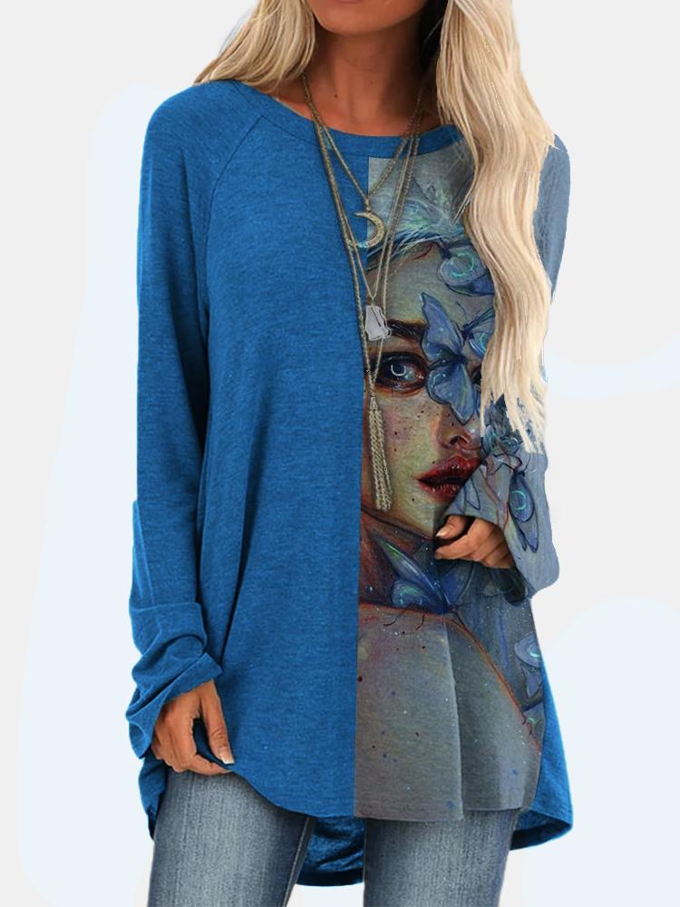 T-shirt long à col rond imprimé patchwork vintage - Newchic - Modalova