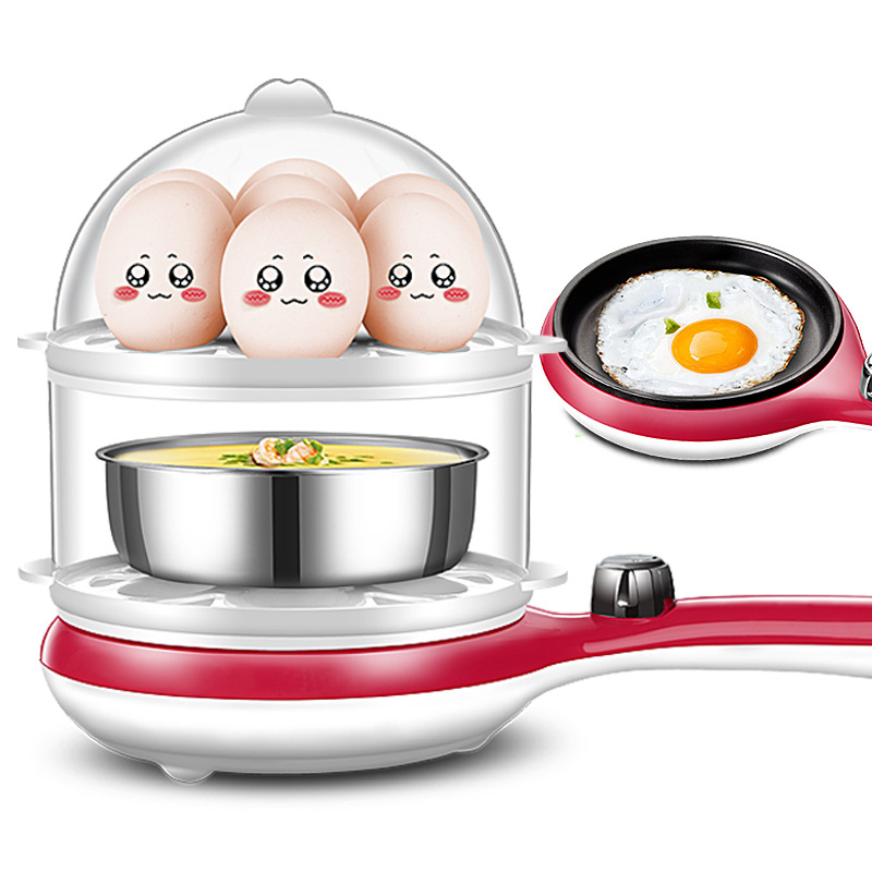3 in 1 Multi-function Electric Egg Cooker 14 Eggs Boiler Steamer Fry Double-layer Cooking Tool