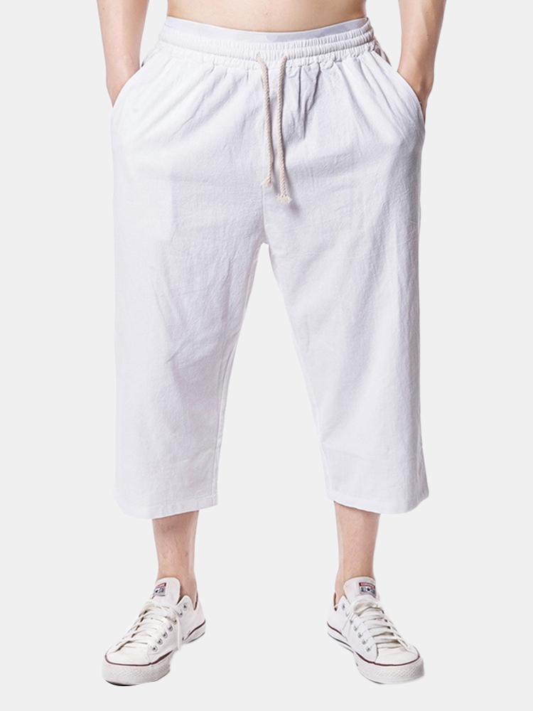Mens Beach Casual Baggy Linen Pantalon longueur mollet Couleur unie Pantalon ample