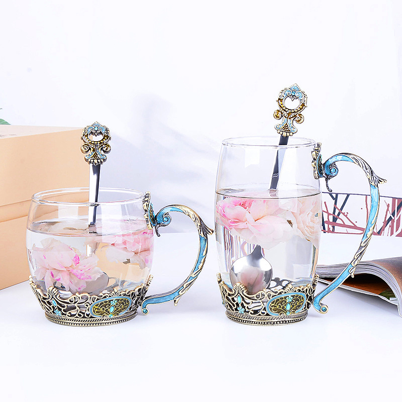 European Style  Cup Creative Enamel Water Cup Flower Tea Cup Set with Spoon