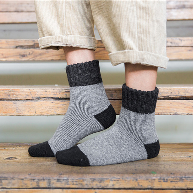 Mens Thick Winter Breathable Wool Comfortable Socks Casual Business Sports Middle Tube Socks