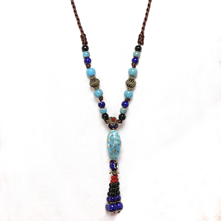 Vintage Ceramic Beads Tassel Pendant Womens Necklaces Ethnic Adjustable Long Necklaces for Women