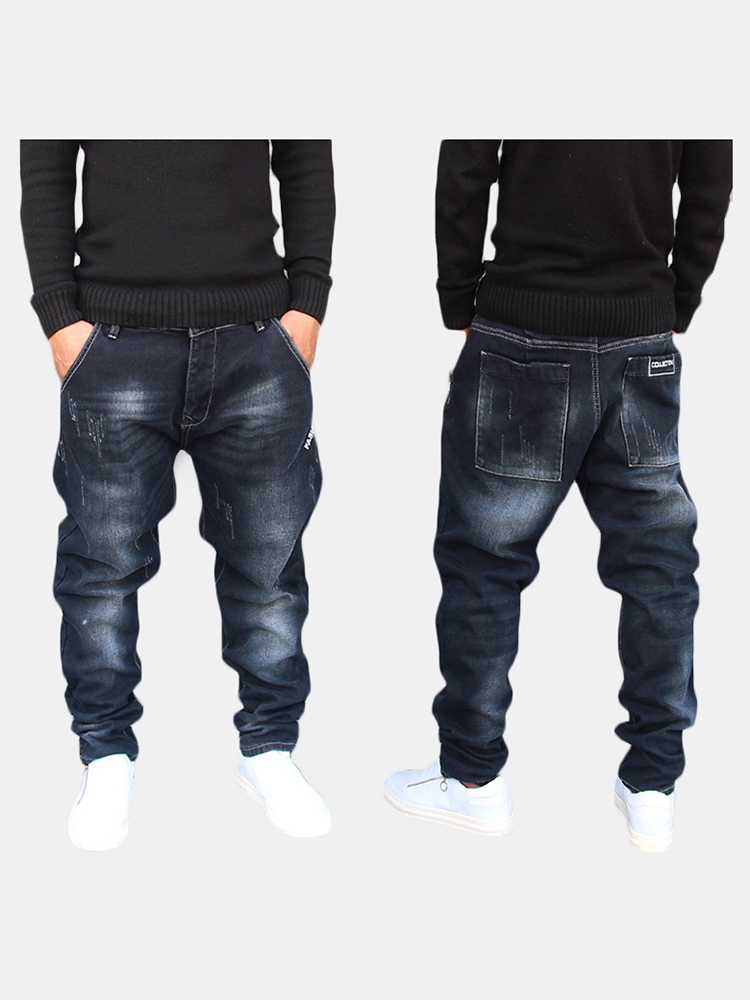 Mens Dark Blue Mid Waist Cotton Hip Hop Joggers Jeans SKU984107