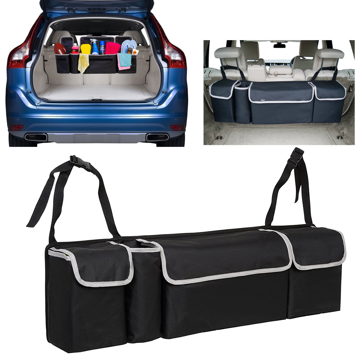Auto Car Back Seat Multi Pocket Storage Organizer Tissue Holder Bag