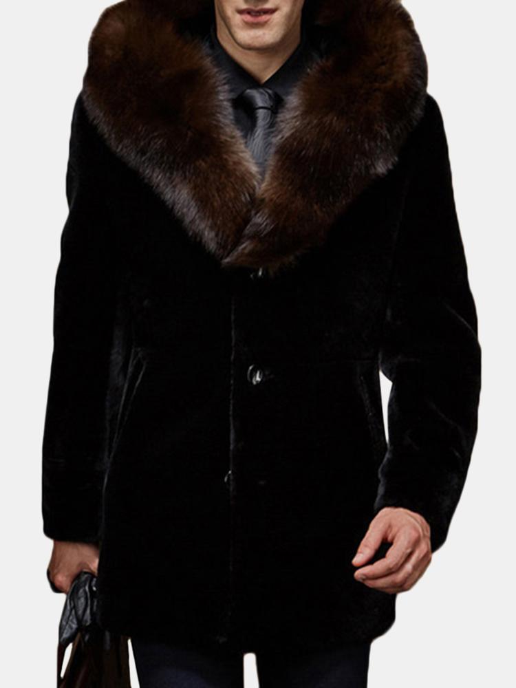 Mens fausse fourrure mi-long tranchée manteau d'hiver manteau décontracté col fourrure d'hiver épais