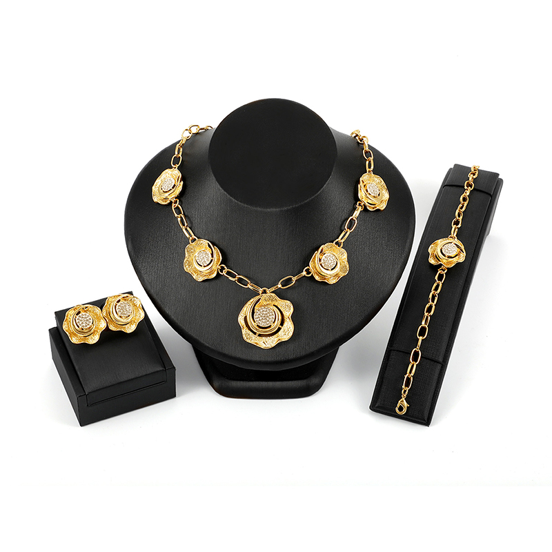 Luxury Bridal Jewelry Sets Rhinestones 18K Gold Flower Charm Necklaces Earrings Jewelry for Women