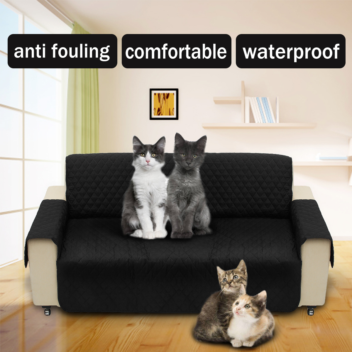 Black Pet Sofa Couch Protective Cover Pad Removable W/ Strap Waterproof 2 Seater SKU846168