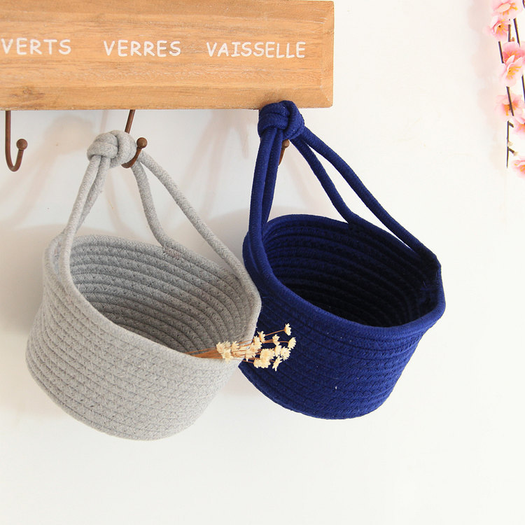 Cotton Woven Finishing Basket Nordic Hanging Basket Cotton Rope Storage Box