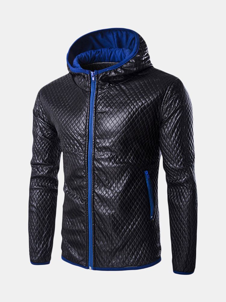 newchic - Mens Warmer Windproof Stitching Leder Mode PU Hoodies Tops Zip Up Lässige Sweatshirt