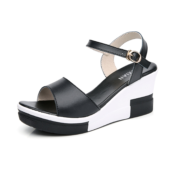Leather Wedge Heel Buckle Sandals SKU911896