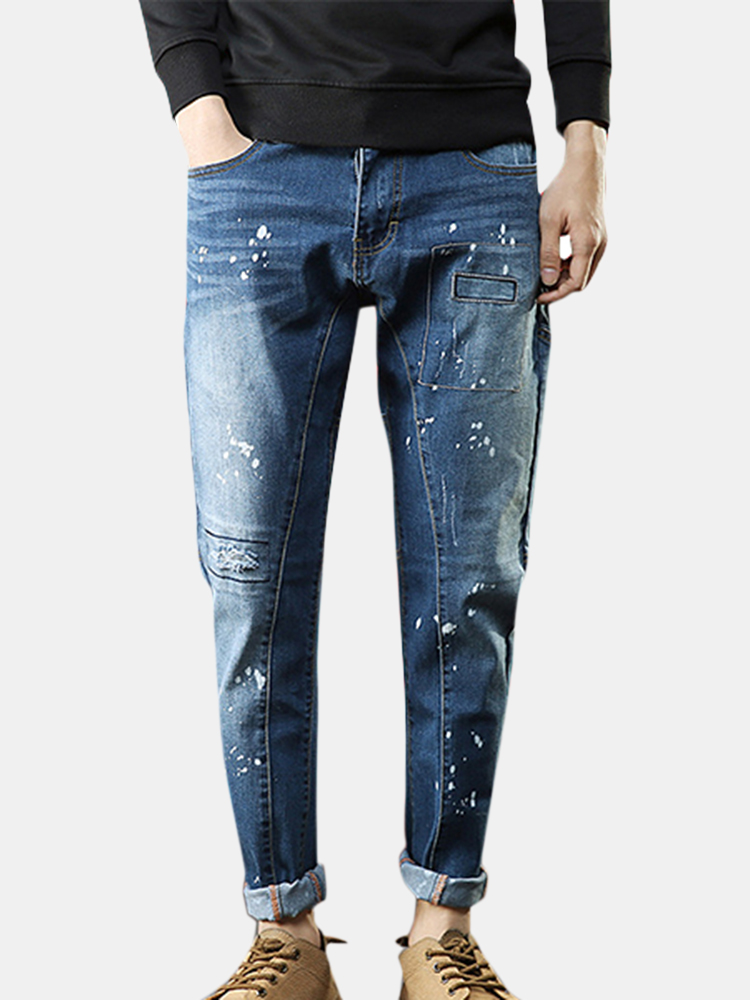 Mens Blue Printing Holes Patch Mid Waist Washed Cotton Jeans SKU856958