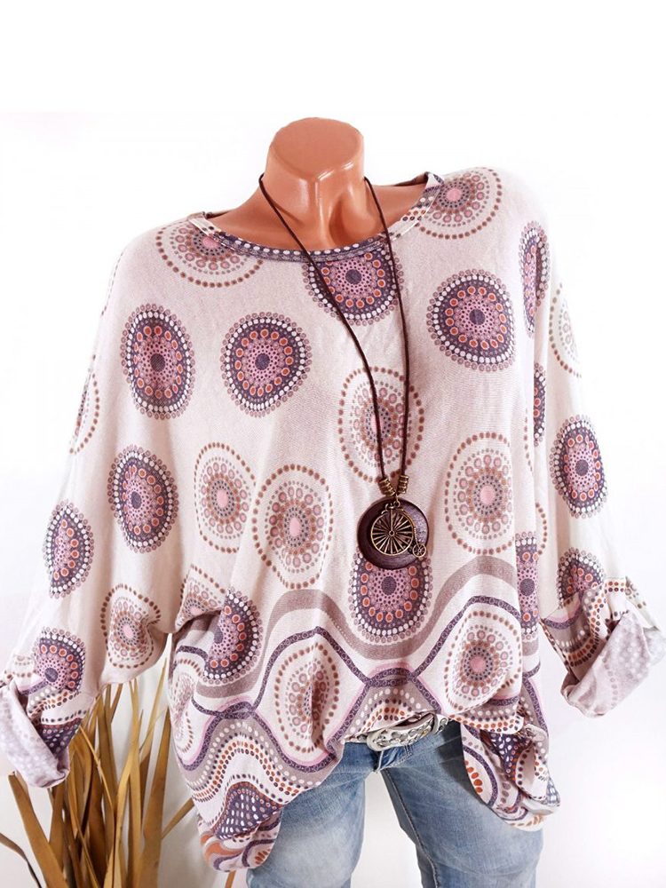 Ethnic Print Long Sleeve Crew Neck Casual T-Shirt
