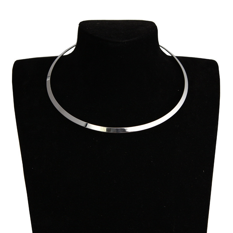 Fashion Choker Silver Gold Necklace Round Slice Mental Necklace Clavicalis Jewelry for Women